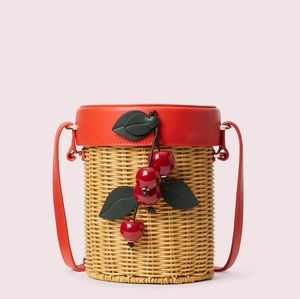 Kate Spade Cherries Picnic Wicker Crossbody Bag